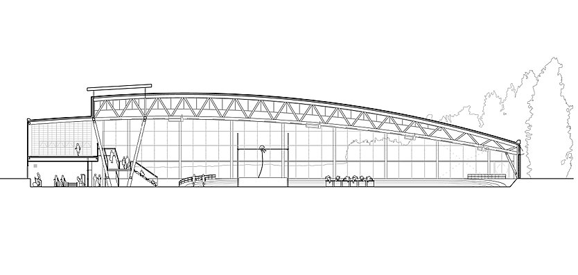 Section through Lee Valley Athletics Centre