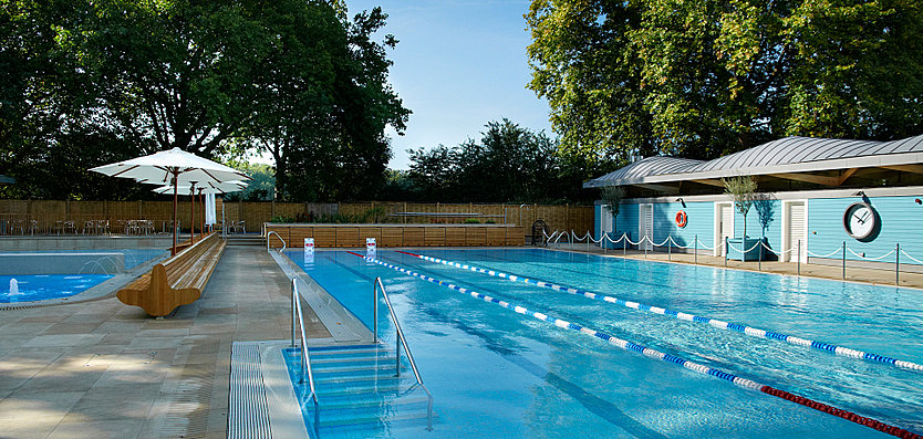 Cafe vew of the Hurlingham Club Outdoor Pool