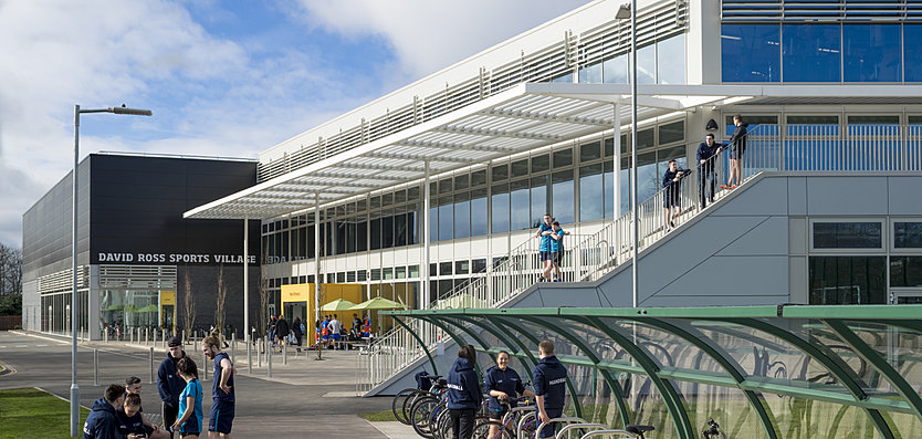 Exterior view of the David Ross Sports Centre