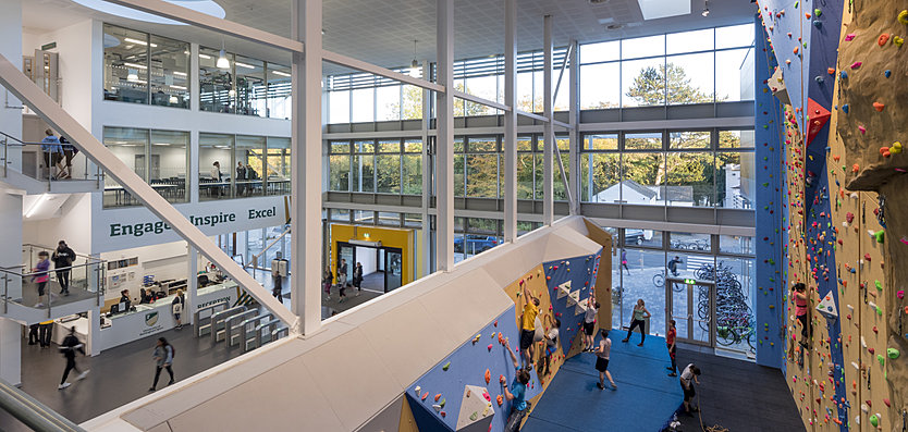Interior view of the main entrance and open plan climbing wall