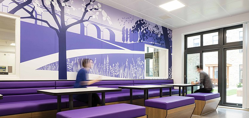 The colour scheme of the dining room was chosen by service users